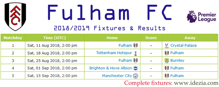 Baixar calendário completo PNG JPG Fulham 2018-2019