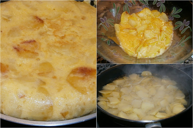 Tortilla de patata, con cebolla.
