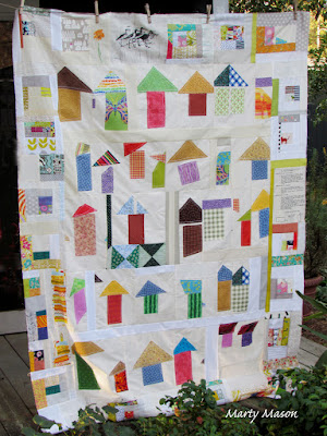 Improv to the house quilt top....with improv log cabin border