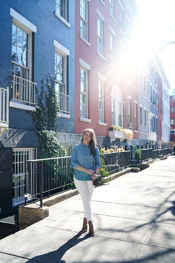 Krista Robertson, Covering the Bases,Travel Blog, NYC Blog, Preppy Blog, Style, Fashion, Fashion Blog, Travel, NYC, West Village, NYC Townhouses, White Jeans, Denim Shirts, Army Green Accessories, Spring Looks