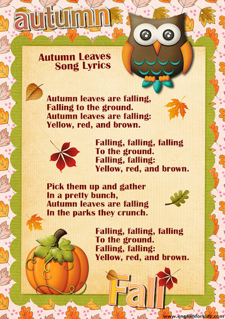 autumn leaves song lyrics, English song for children about autumn