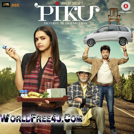 Poster Of Bollywood Movie Piku (2015) 110MBMB Compressed Small Size Mobile Movie Free Download worldfree4u.com