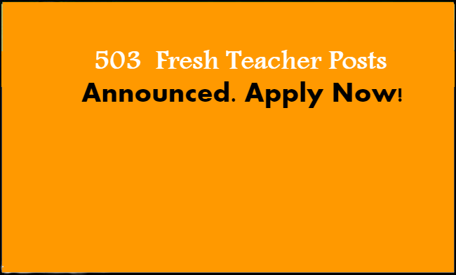Fresh 503 Government Teacher Jobs announced by J&K Education