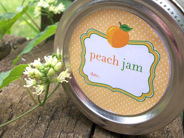 Cute Peach Jam canning jar labels