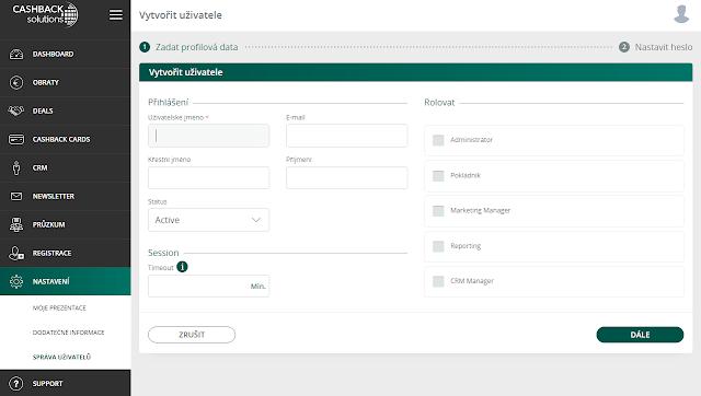 Cashback Solutions CZ - správa uživatelů