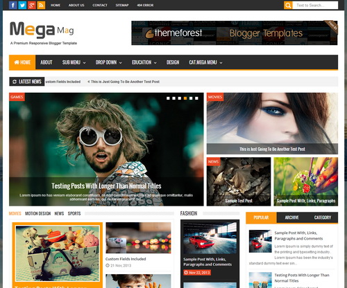 Mega Mag Blogger Template