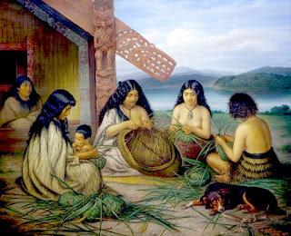 Mujeres maoríes tejiendo cestos de lino