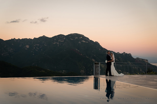 Bride and groom Caruso infinity pool