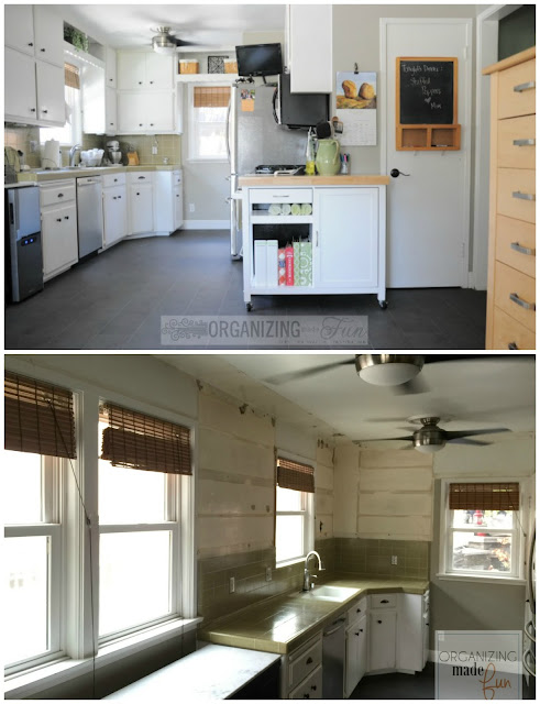 Before and During of kitchen renovation - taking down upper cabinets opens up kitchen :: OrganizingMadeFun.com
