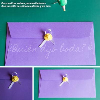 Personalización de sobres para invitaciones de boda con sello de silicona caliente