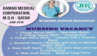 Nursing Vacancies for HMC, M.O.H - Qatar Hurry Up !! Vacancy closes on 17th June