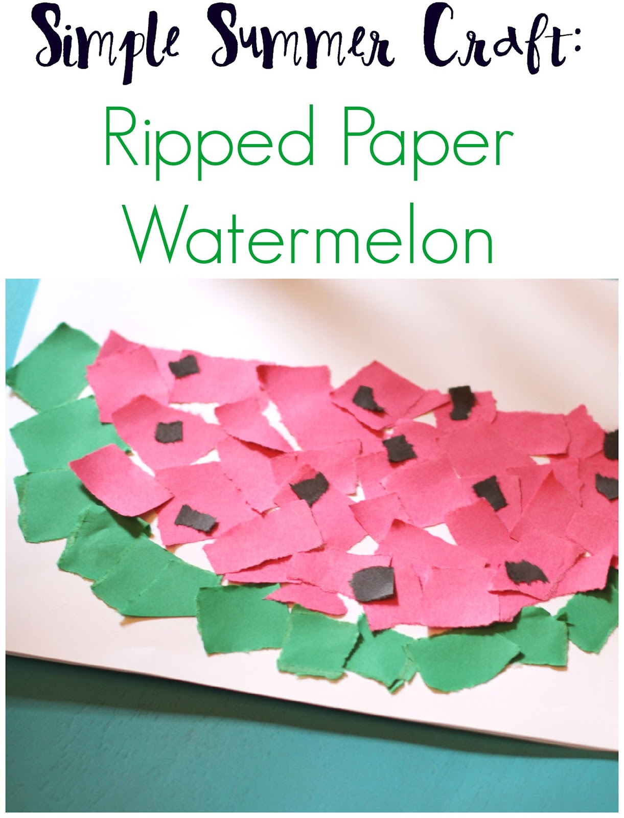 Simple Summer Craft: Ripped Paper Watermelon - The Chirping Moms
