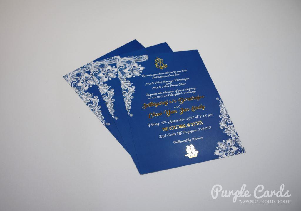 Chindian Wedding Invitation Card Royal Blue