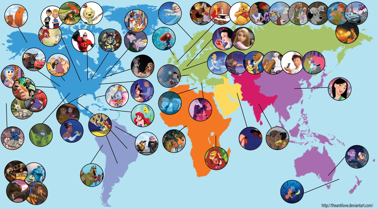 Map of where Disney movies set