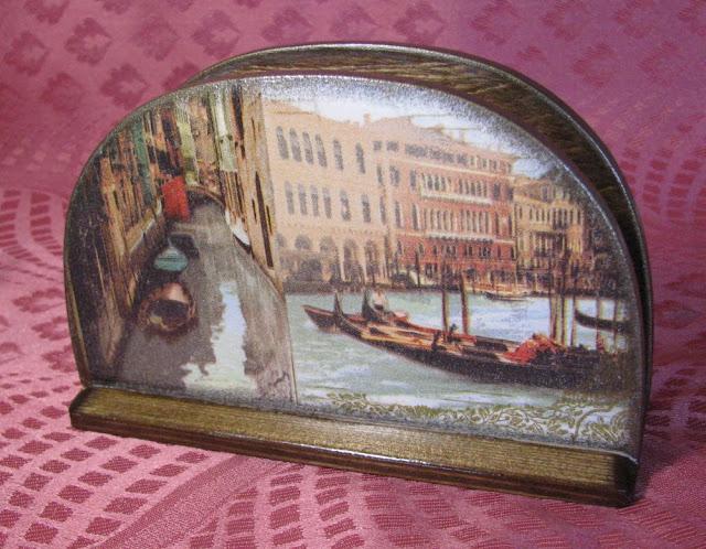 "Салфетница  ""Венеция"", декупаж, морение."