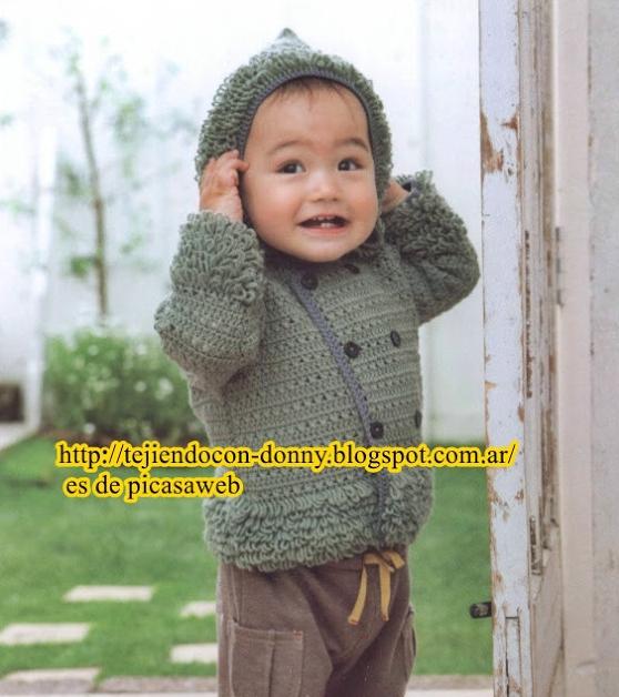 Patrón #1193: Abrigo Bebe a Crochet