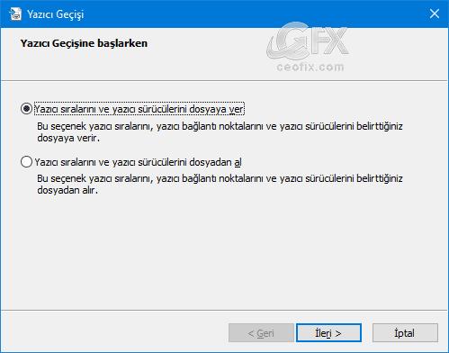 Windows'daki yazıcıları yedekleme-www.ceofix.com