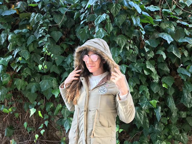 Shein Faux Fur Drawstring Waist Parka Coat
