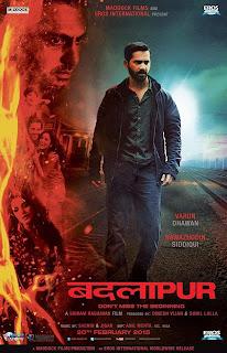 Badlapur, movie poster, Directed by Sriram Raghavan, starring Nawazuddin Siddiqui, Varun Dhawan, Radhika Apte