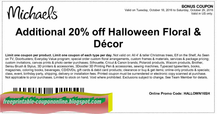 picture about Michaels Coupon Printable named Printable Discount codes 2019: Michaels Discount coupons