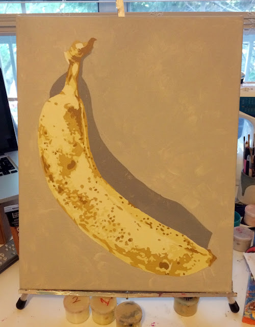 wipwednesday, work-in-progress, still-life-painting, paint-by-number-banana, painting-of-a-banana