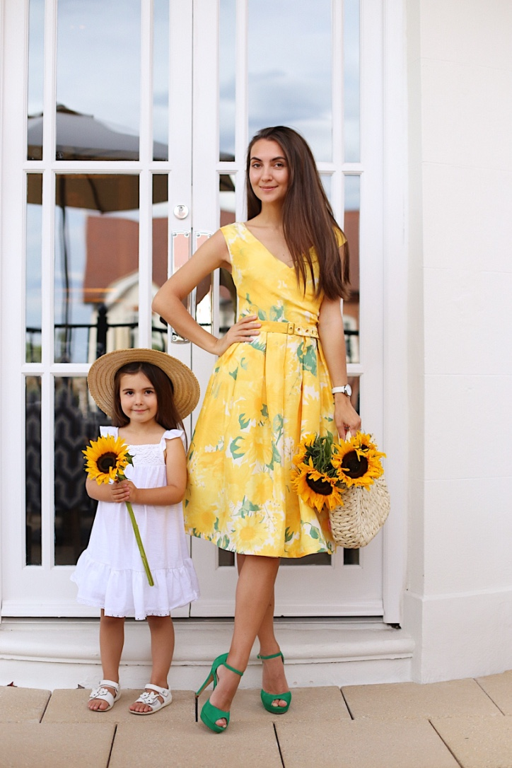 sunflower dress, mother and daughter style