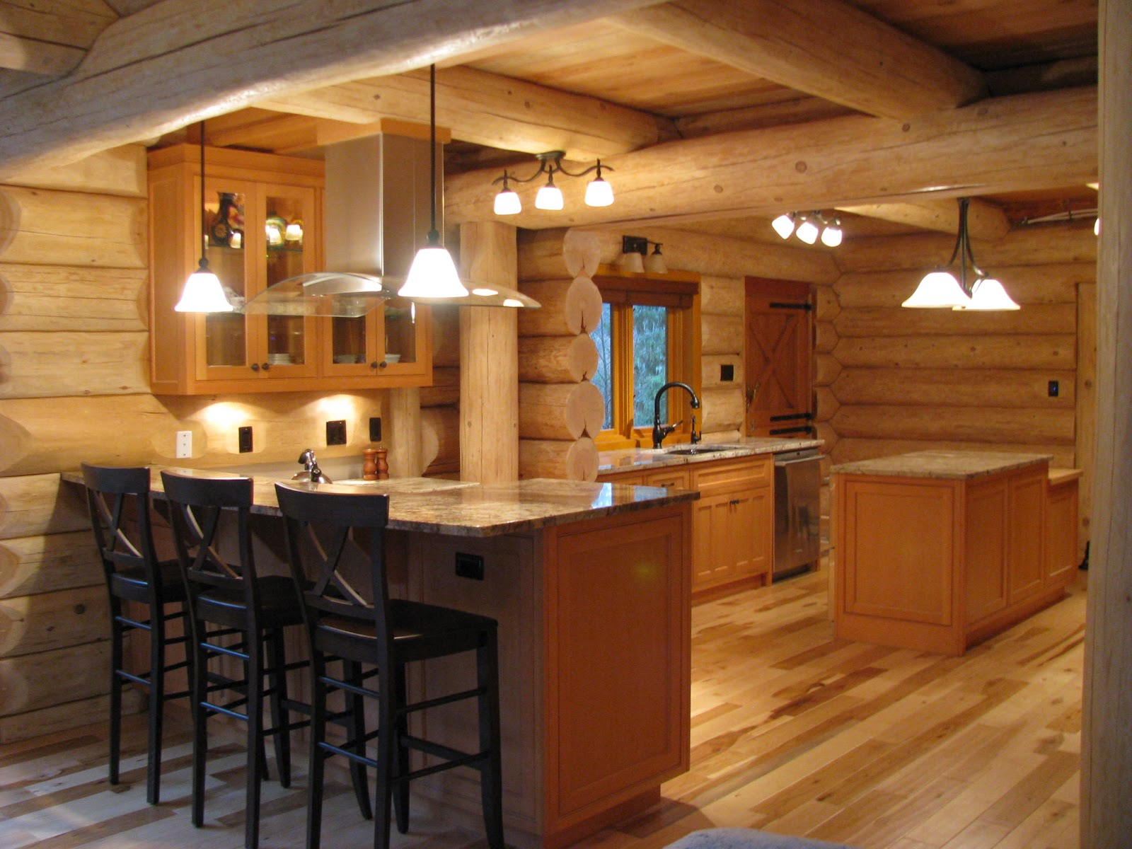 Custom Kitchens Cabinets in Log Homes