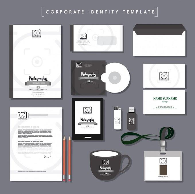 Business identity sets grey decor photography logo Free vector
