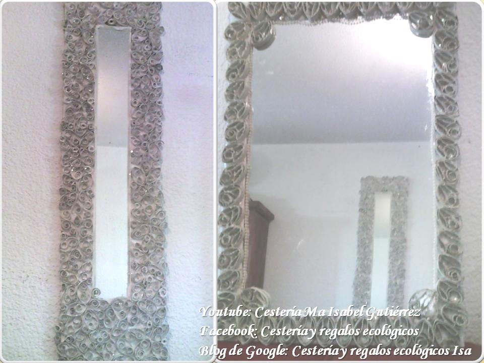 decorando espejos con tubos de cartn del papel higinico