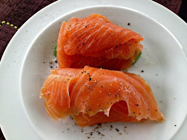 avocado topped with salmon