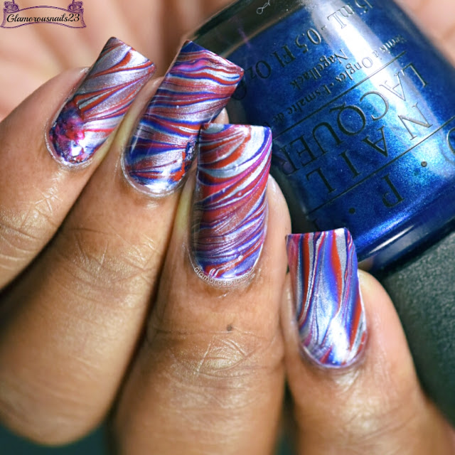 Watermarble Wednesdays: Blue, Silver & Red