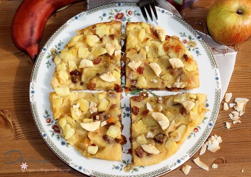 Jabłkowy placek gigant z suszonymi owocami i czerwonym bananem (bez mąki i mleka)