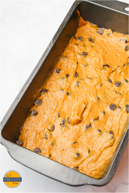 Stir the chocolate chips into the remaining pumpkin batter and put in prepared loaf pan