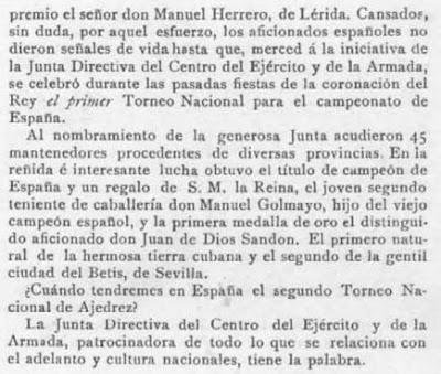 Revista Pluma y Lápiz, recorte del 4 de enero de 1903 sobre el primer campeonato de España individual de Ajedrez
