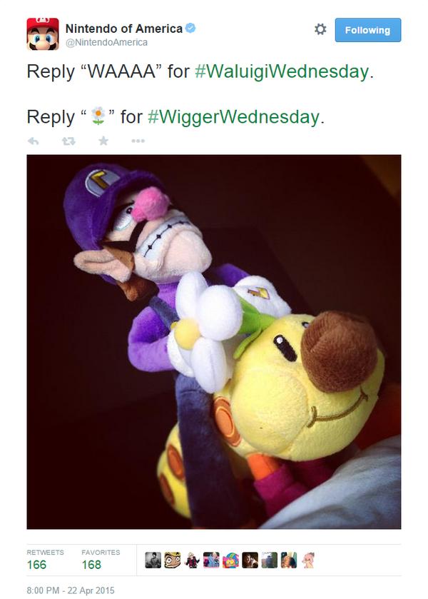 WiggerWednesday Wigger Wednesday Wiggler Nintendo of America tweet typo Waluigi