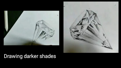 How to draw realistic diamond, Diamond drawing in 3d, how to draw Diamond