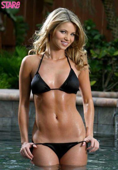 Retro Bikini Amber Lancaster Wears Black Bikini For -9765