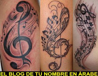 Tatuajes de simbolos notas musicales