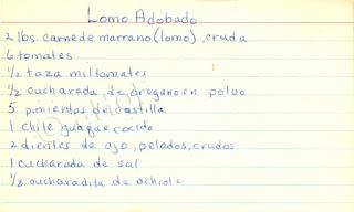 My old recipe for Lomo Adobado