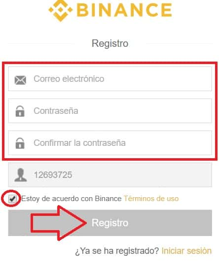 registro en web binance