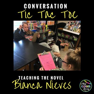 Teaching the novel Bianca Nieve y los 7 torritos - toc tac toe