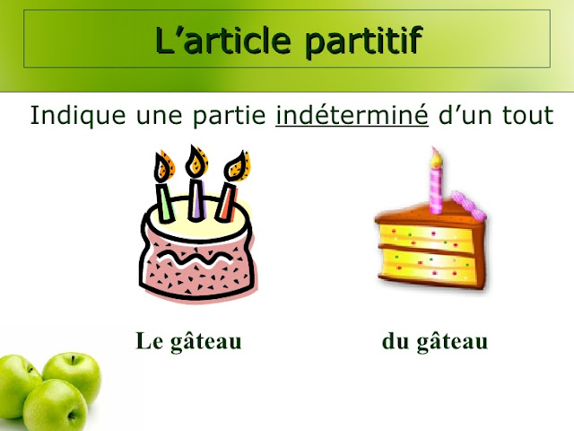 l'article partitif  أداة التبعيض