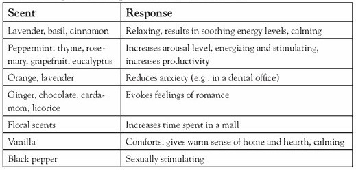Different types of smell and their responses