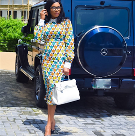 Chika Ike slays in new photo with her G-Wagon