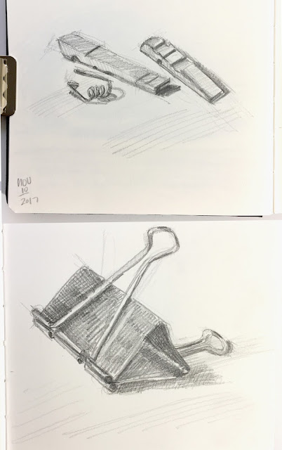 Daily Art 11-10-17 still life sketch in graphite - broken clothes pin and binder clip