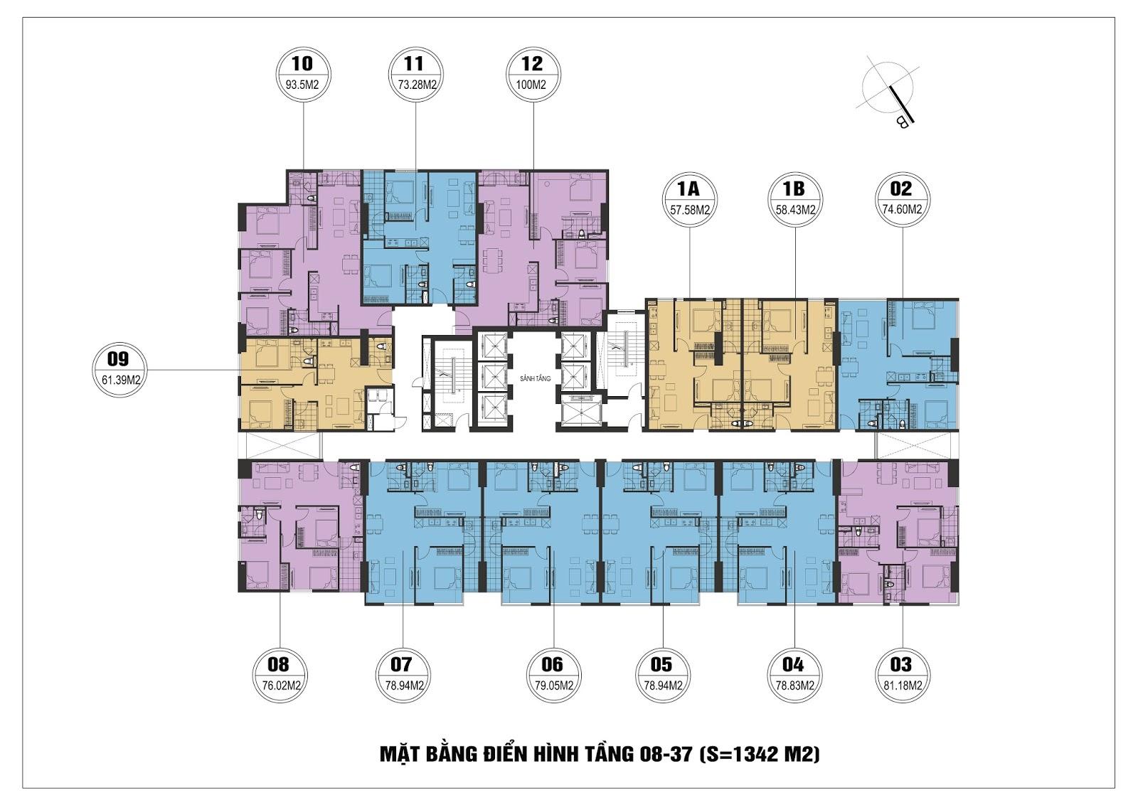Mặt bằng điển hình tầng 08-37 chung cư FLC Star Tower