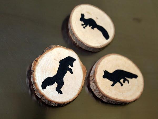 DIY Holzscheiben Magnete Fuchs und Eichhörnchen
