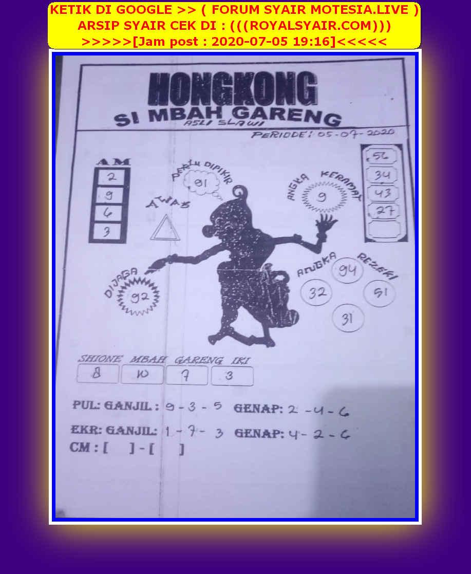 Kode syair Hongkong Minggu 5 Juli 2020 27