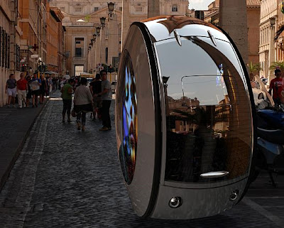 Auto con una sola rueda futurista