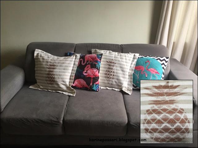 almofada de abacaxi e flamingo
